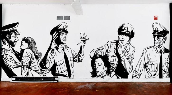 Rouge Ketchup (vue de la murale), Le Sous-Sol du Cercle (Québec, Qc), Acrylique sur mur, 213 X 762 cm, 2015. / Rouge Ketchup (wall view), Le Sous-Sol du Cercle (Quebec, Qc), Acrylic on wall, 213 X 762 cm, 2015.